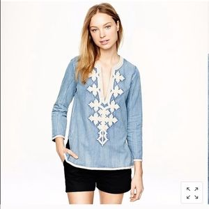 J. Crew denim embroidered tunic top Size 10